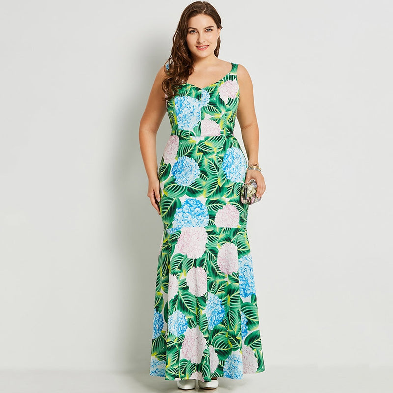 5330ae89a79e5 Summer Sleeveless Long Dress Green Tropical Print Big Size Maxi Dresses  2018 Party Evening Casual Mermaid Plus Size Dress 4XL