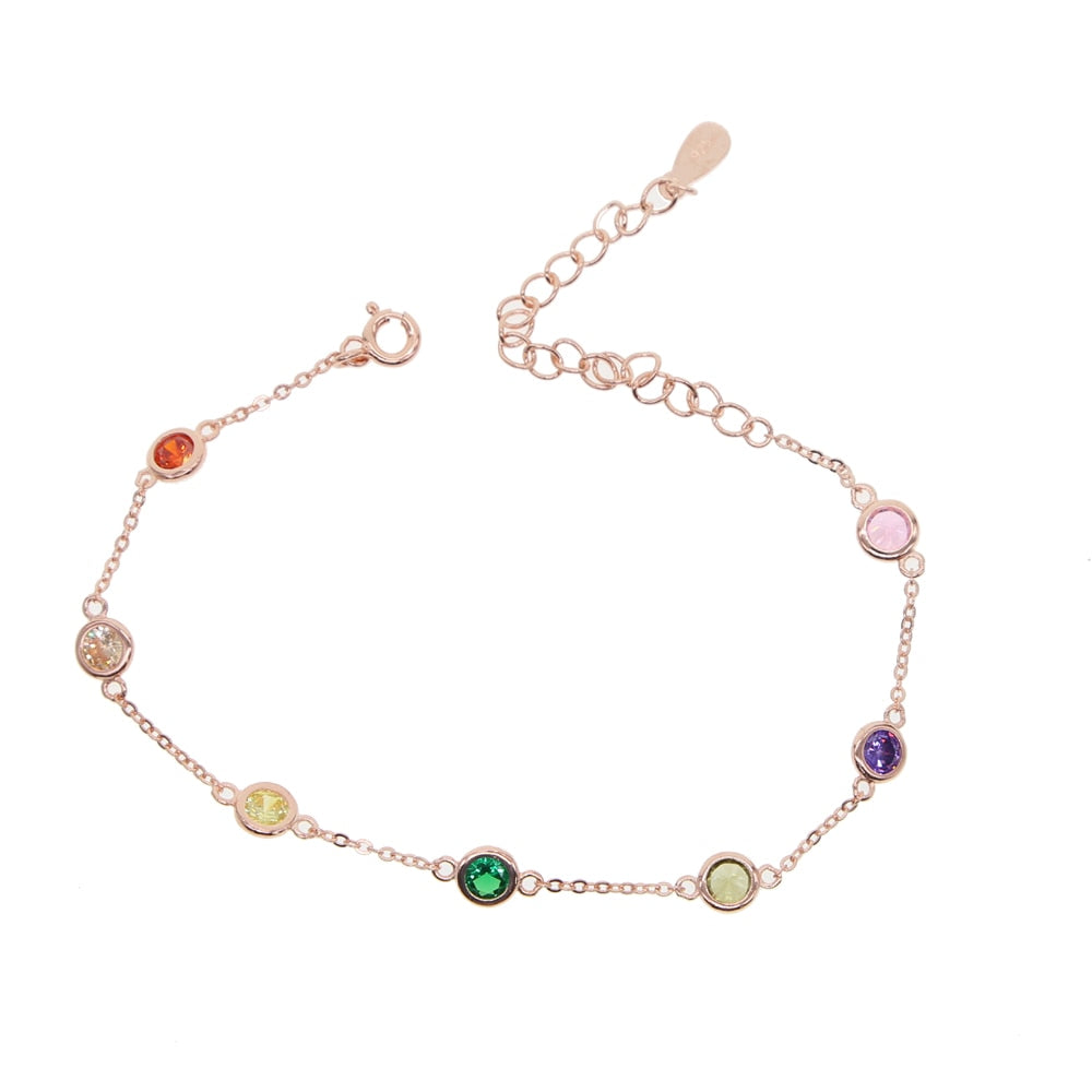 2019 New fashion 925 sterling silver delicate AAA Circular Colorful tiny CZ Bracelets for Women girl charm Birthday Gift Jewelry