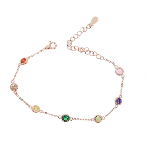 efedcccf8 2019 New fashion 925 sterling silver delicate AAA Circular Colorful tiny CZ  Bracelets for Women girl charm Birthday Gift Jewelry