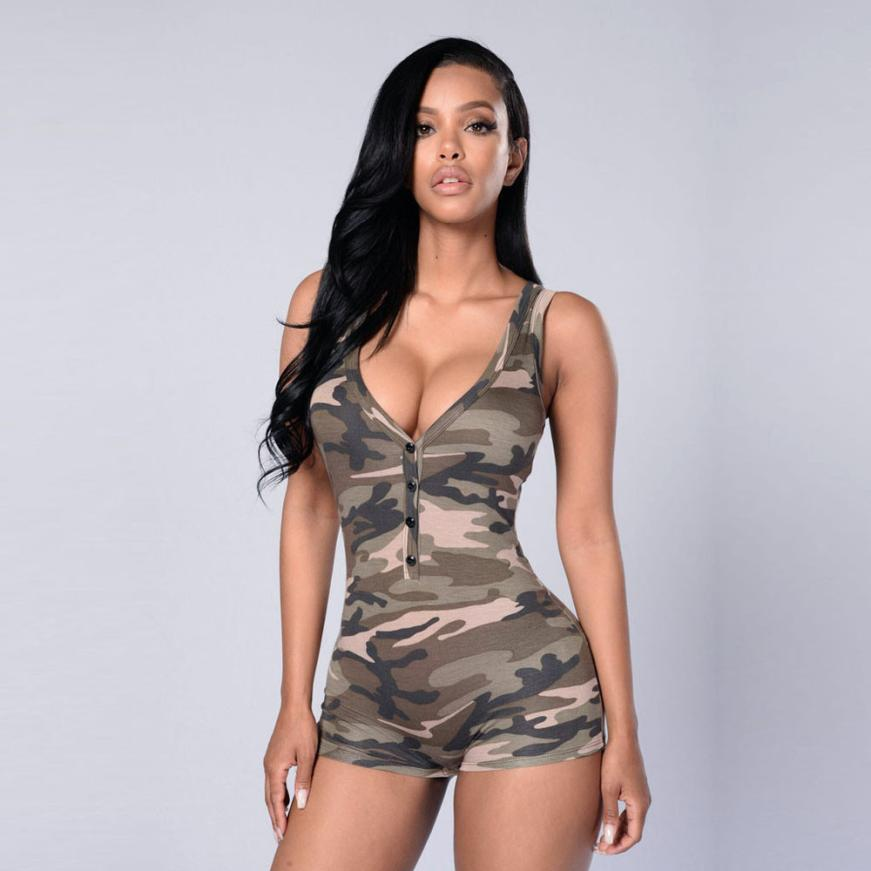 KANCOOLD Bodysuit new high quality Sexy Sleeveless Blouse Bodysuit Leotard Camouflage Romper V neck Bodysuits women feb6