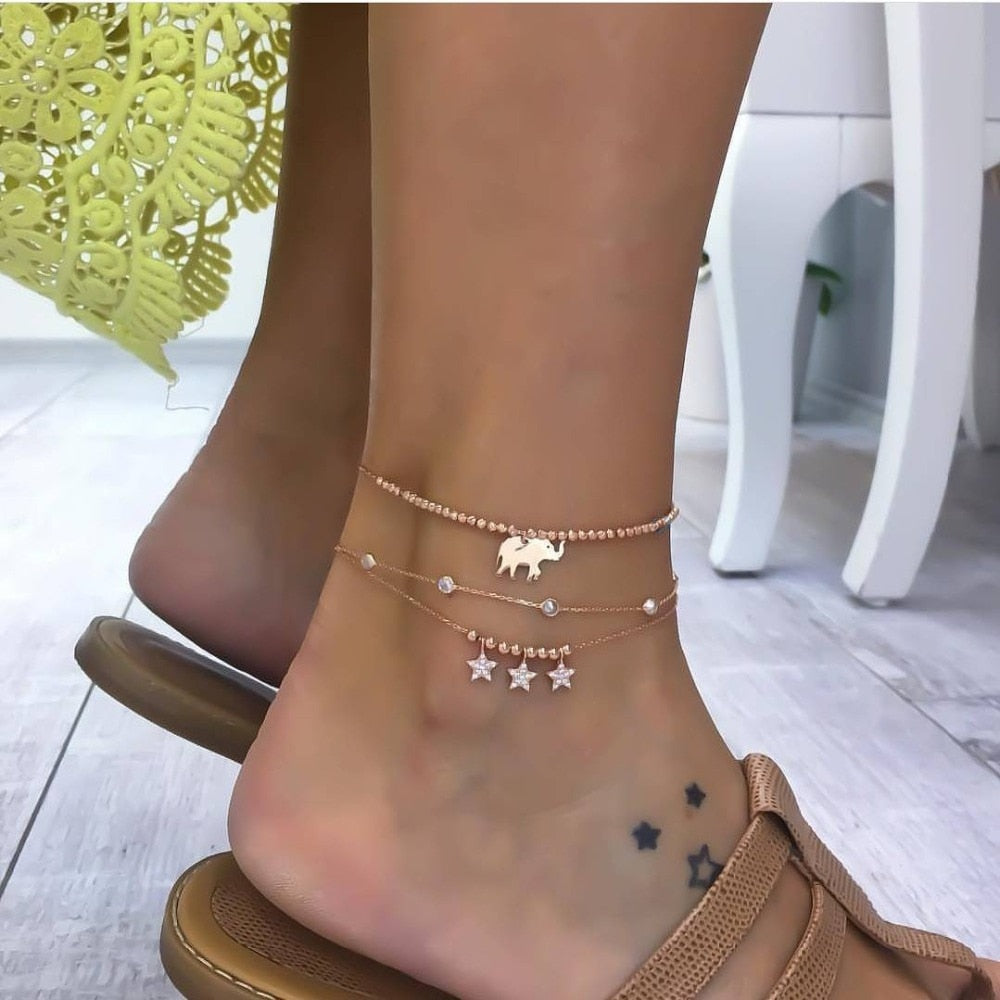 Tocona Bohemian Elephant Star Crystal Pendent Chain Anklet for Women Punk Barefoot Beach Jewelry Gift Accessories 5188