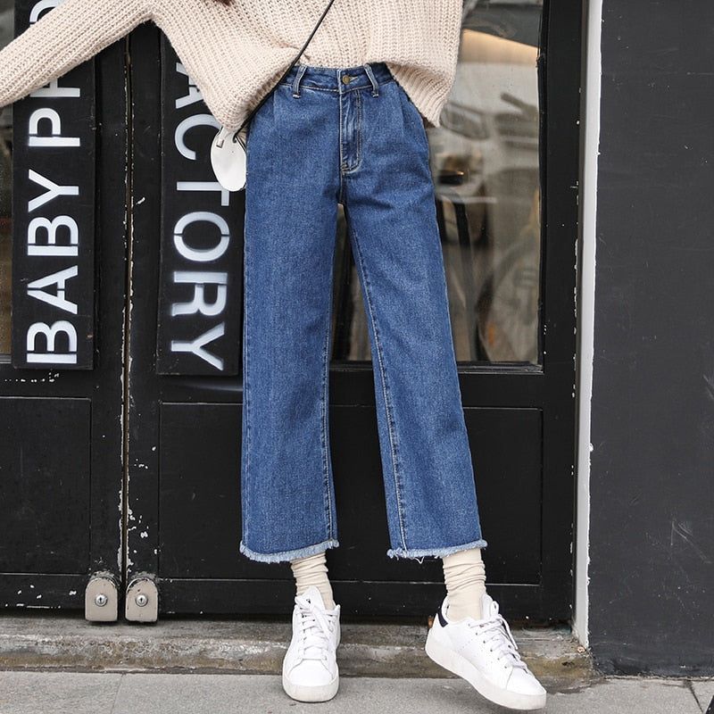 Straight Denim Blue Vintage High Waist Solid Fresh Preppy Style Loose Cotton  Ankle-length Female Wide Leg Pants