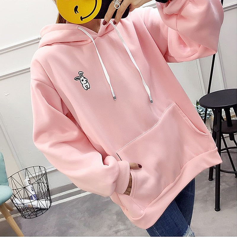 2018 Women Hoodies Sweatshirts Rabbit EarsAutumn Long Sleeved Casual All-match Solid Hooded Hoodie Tops For Women
