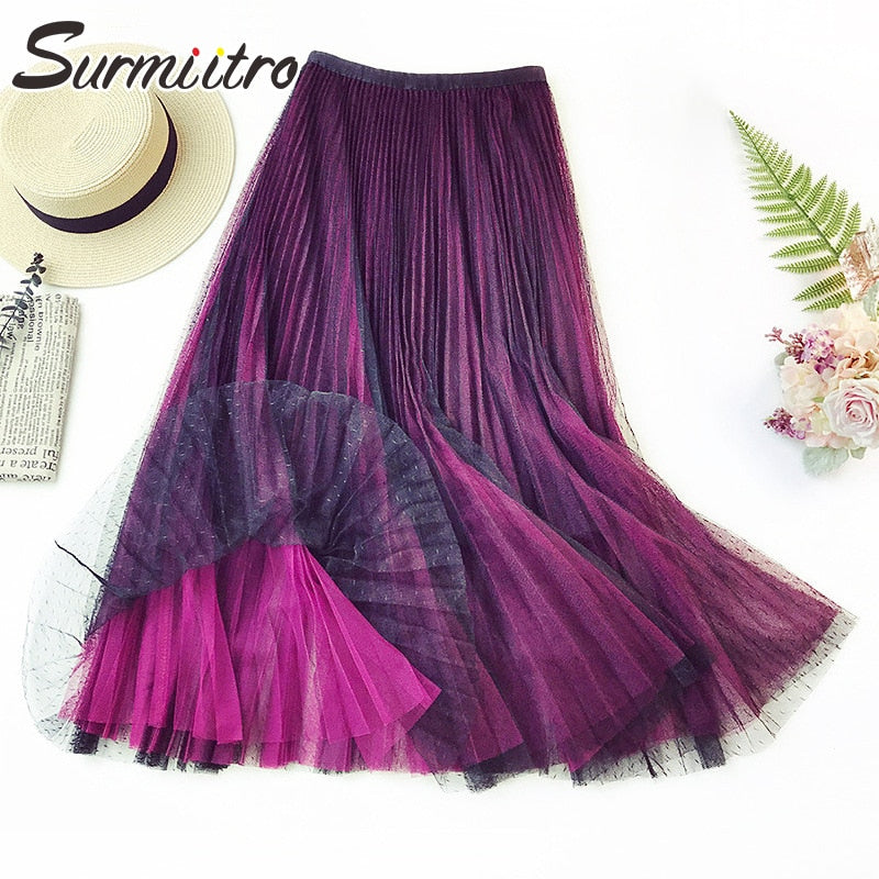 Surmiitro Purple Gradient 3-layers Tulle Skirt Women 2019 Spring Summer New Korean Elegant Long High Waist Pleated Skirt Female