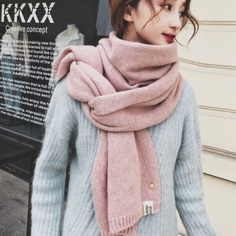 Scarves Women Winter 2018 Solid Kawaii Embroidery Knitted Scarf