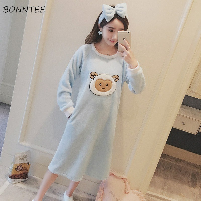 Nightgowns Women Winter Kawaii Long Sleeve Thicken Nightgown Flannel Bathrobe Womens Cartoon Sleepwear Soft Warm Trendy Lovely