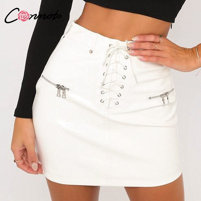 35c911ac6 Black Faux Leather Skirt White High Waist Zip Front Sexy PU Lace up Pencil  Skirt Women