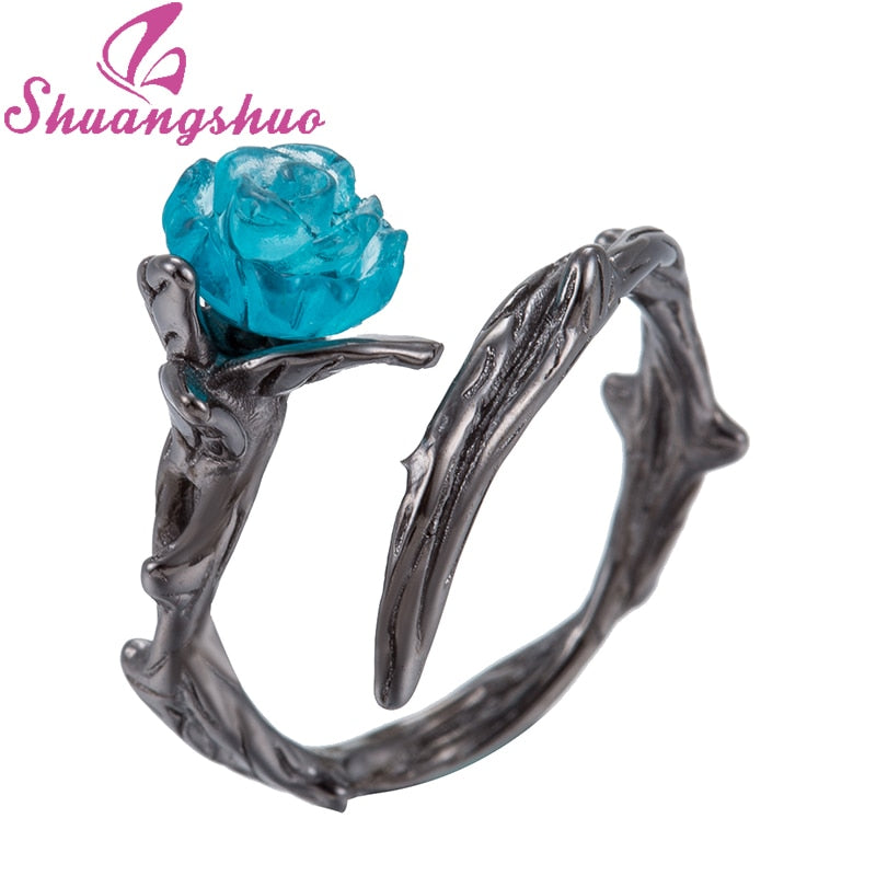 Shuangshuo New Punk Black Flower Rings for Women Plant Jewelry Christmas Gift Blue Rose Flower Wedding Rings anillos mujer bague