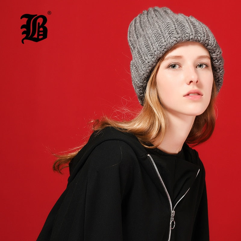 3fa576f15 [FLB] Knitting wool ball skullies beanies Casual streetwear Thick warm hat  cap Women autumn winter 2018 cute beanie hat 17042