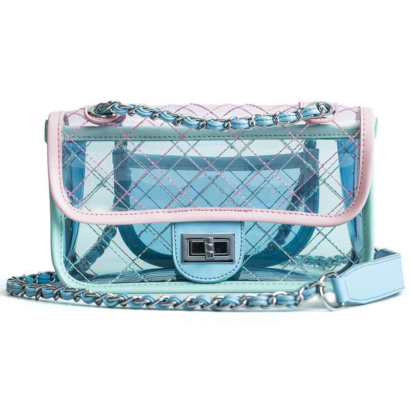 New Brand Design Women Lattice Messenger Bag Transparent Bag PVC Jelly Lady Cute Crossbody Bags Casual Female Chain Shoulder Bag