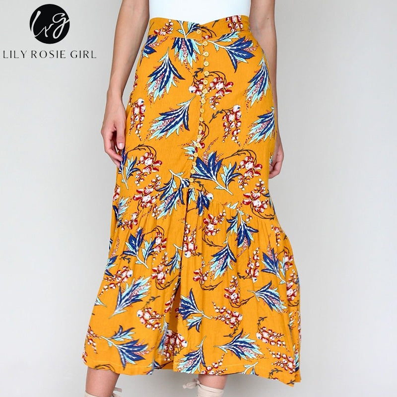 Pirnt Floral Boho Long Skirt Ruffles Button Elegant Summer Skirts Womens  High Waist Chiffon Maxi skirt 41d2652775cd