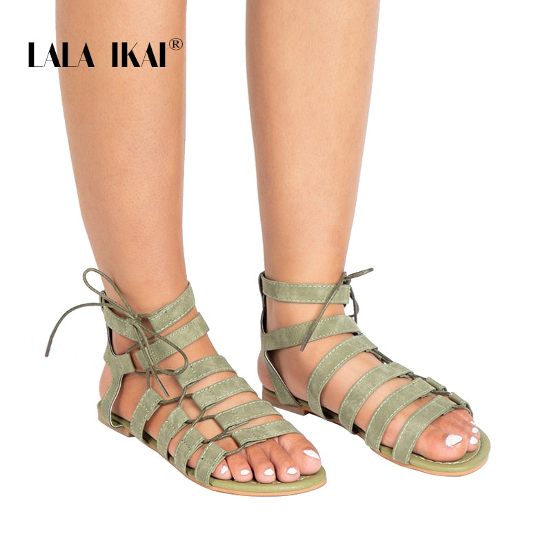 cc4f2fd41ff Gladiator Sandals Ankle Strap Women Sandals Lace Up Woman Beach Flat  Sandals Shoes Ladies Summer 014A1482