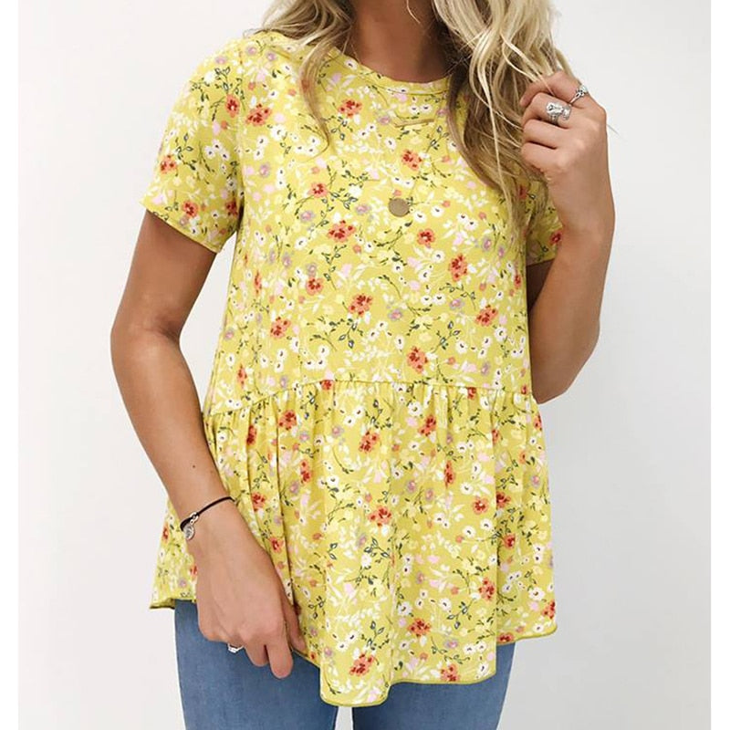 Women Floral Printed T-Shirts Loose Causal Chic Shirts Short Sleeve Slim Female Shirts Plus Size Tops 2019 Fashion Spring M0485