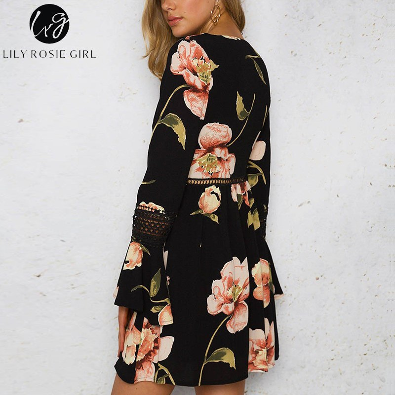 50fb73920c79b Lily Rosie Girl Hollow Out Lace Up Women Dress 2019 Summer Boho Floral  Print Mini Dresses Long Flare Sleeve Short Casual Vestido