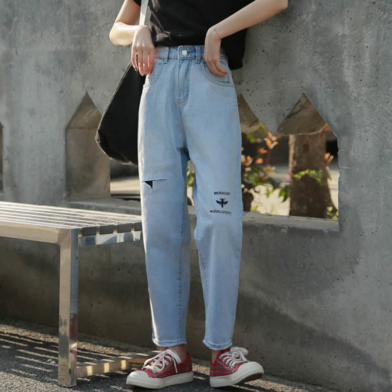 New Women Denim Jeans High Waist Cotton Jeans Harajuku Embroidery Straight Jeans Female #6821