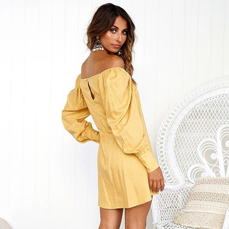 ae3970ebc2030 DeRuiLaDy 2018 Women Summer Dress Sexy Off Shoulder Long Sleeve Button  Loose Party Short Dresses Ladies Autumn Casual Mini Dress