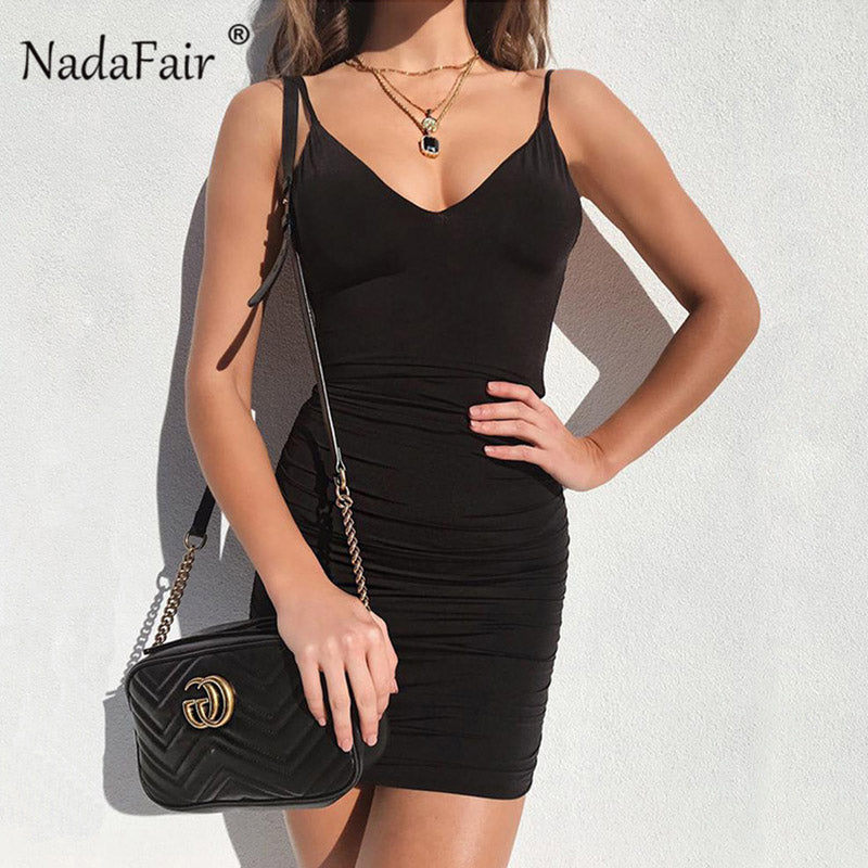 3235288540 Nadafair sexy backless bodycon summer dress women v neck strap draped wrap  dress new arrival black white mini club party dress