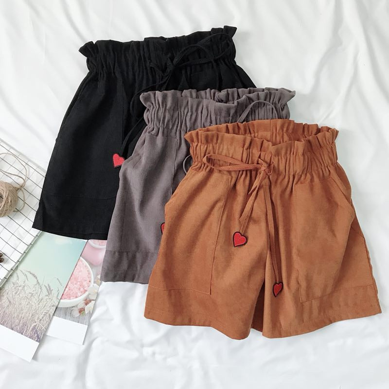 Ulzzang Shorts For Women High Waist Loose Shorts Elastic Waist Shorts Harajuku Embroidery Shorts Female #T010