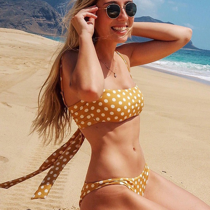 11b950b7c8 PLAVKY 2019 Sexy Retro Yellow Polka Dot Bandeau Biquini Swim Wear Bathing  Suit Female Swimsuit Swimwear