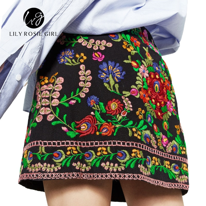 Elegant Bohemian Embroidery Black Floral Short Skirt Ethnic Autumn Winter  High Waist Slim Women Skirt Vintage 1c5cb1d24935