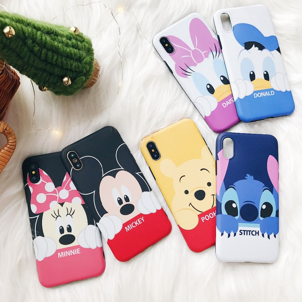 Cute Anime Mickey Minnie Stitch Donald Daisy Pooh Cartoon soft silicone phone case for iphone 6 6s 7 plus 8 X XR XS MAX cover