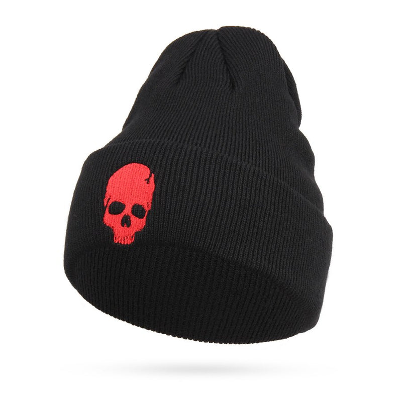 22219554fb513 Cool Embroidery Skull Head Beanies For Men Winter Cap Women's Acrylic Black  Skiing Hat Stretch Hip-Hop Skullies Warm Hats Male