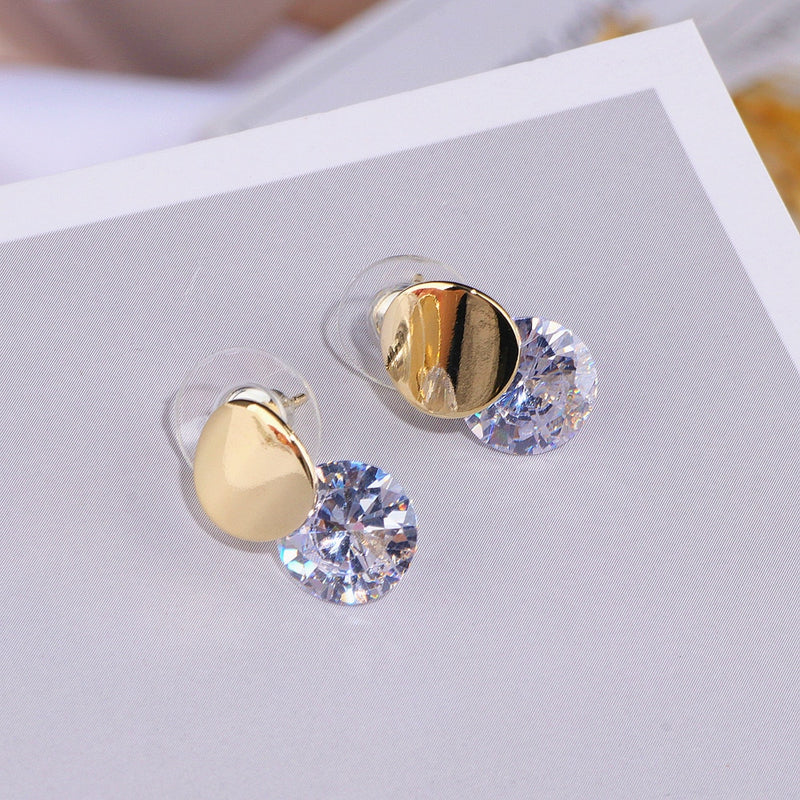 5418bc8b1 Classic Crystal Round Stud Earrings for Women Girls Gold Sliver Color  Simple Elegant Zircon Earrings For