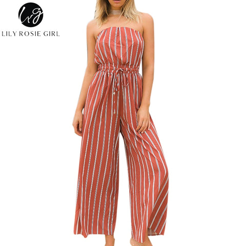 42f30238e4 Lily Rosie Girl Off Shoulder Striped Sexy Backless Jumpsuits Women Summer  Beach Long Rompers Lace Up Party Jumpsuits Overalls