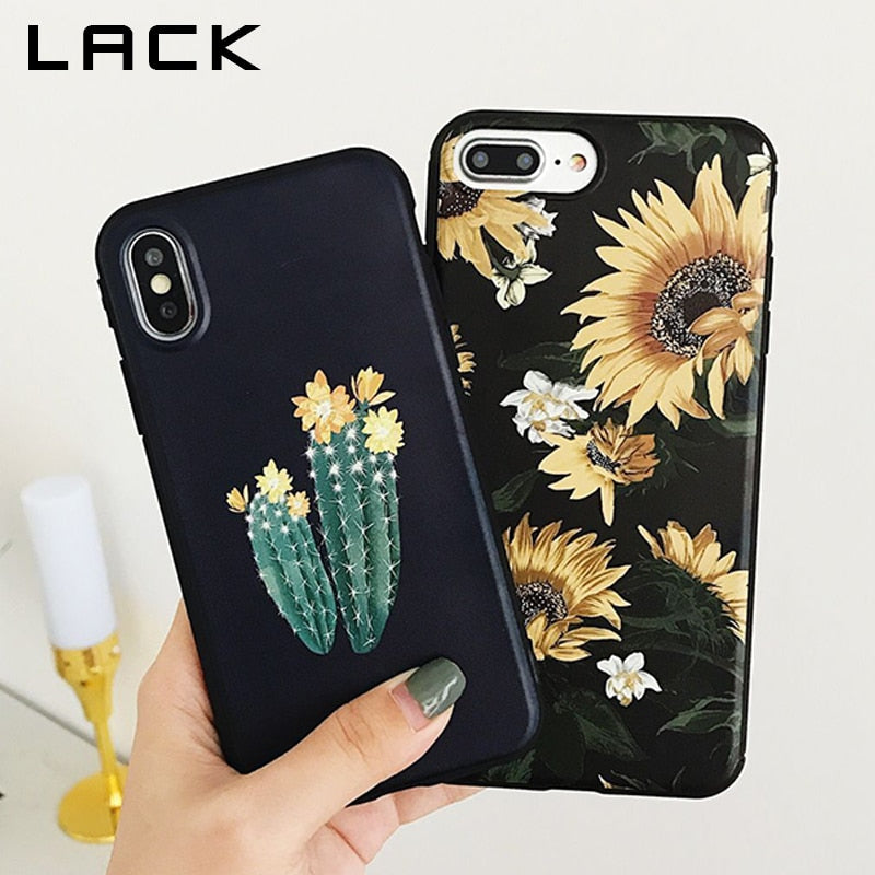 LACK Cute Sunflower Phone Case For iphone XS Max Case For iphone XR X 6S 6 7 8 Plus Back Cover Retro Cactus Cartoon Cases Capa