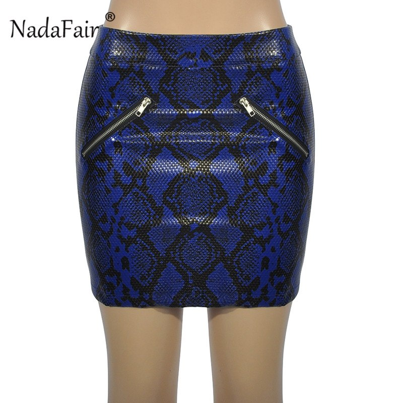 d01c53967c sexy high waist pu leather snake print skirts women 2018 autumn winter  zippers bodycon club vintage