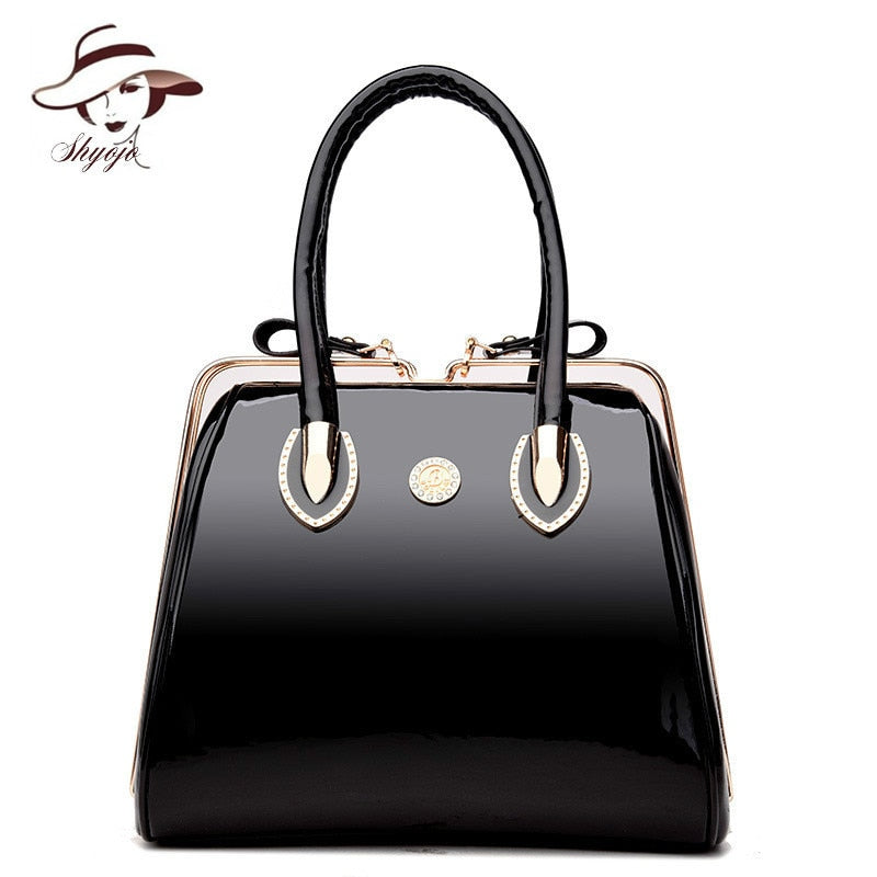 Luxury High Quality Black Patent Leather Women Bag Ladies Famous Brand Messenger Handbag Party Purse Tote Designer Crossbody Bag