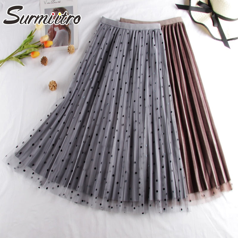Surmiitro Dot Print Reversible Skirt Womens 2019 Autumn Winter Fashion Korean High Waist Pleated Skirt Female Long A-line Skirt