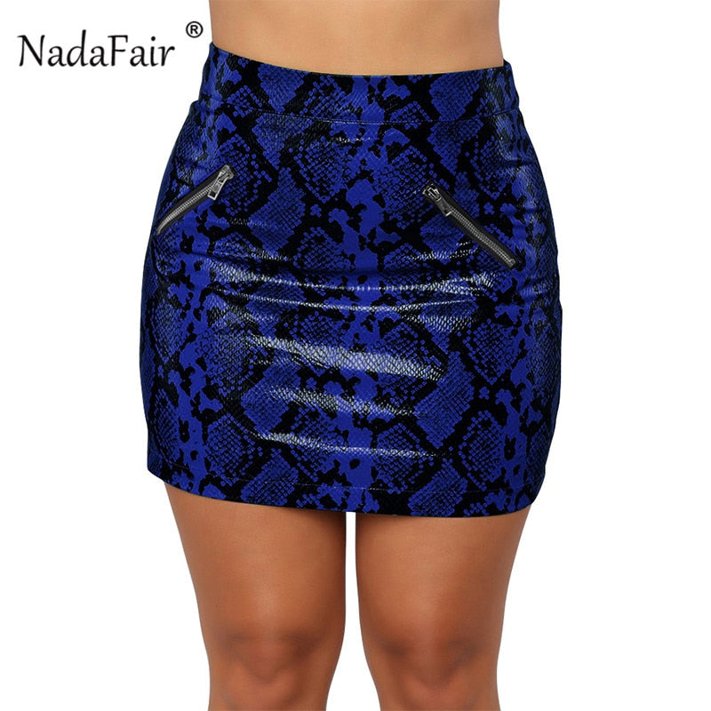 e5784dd11953e7 Nadafair sexy high waist pu leather snake print skirts women 2018 autumn  winter zippers bodycon club