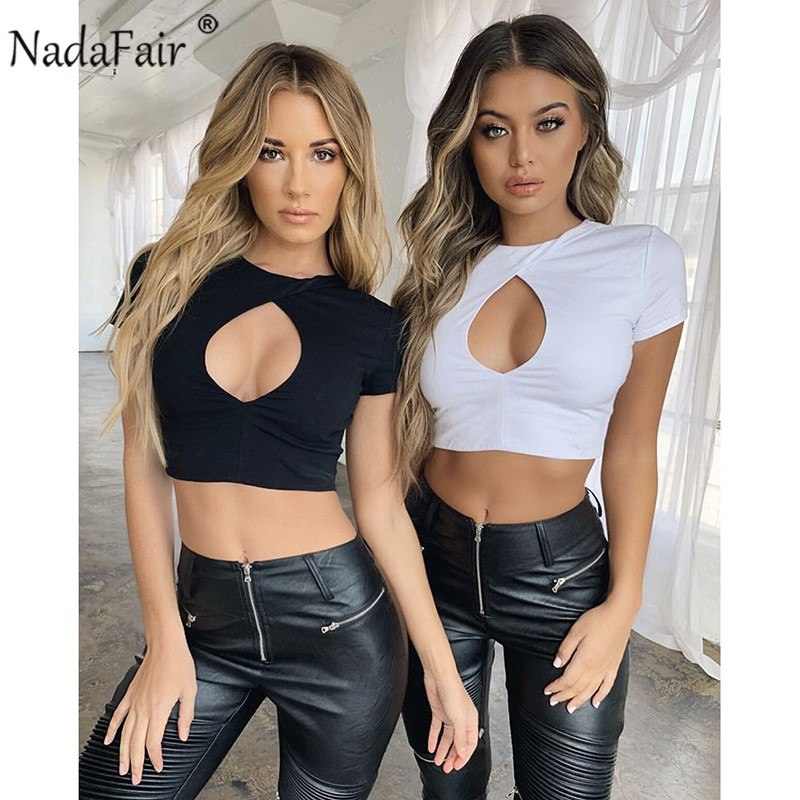 T-shirts Nadafair Pu Leather Crop Tops Women Short Sleeve Slash Neck Black Cropped Club Sexy Summer Tops Female Sexy Pu T Shirts Women's Clothing