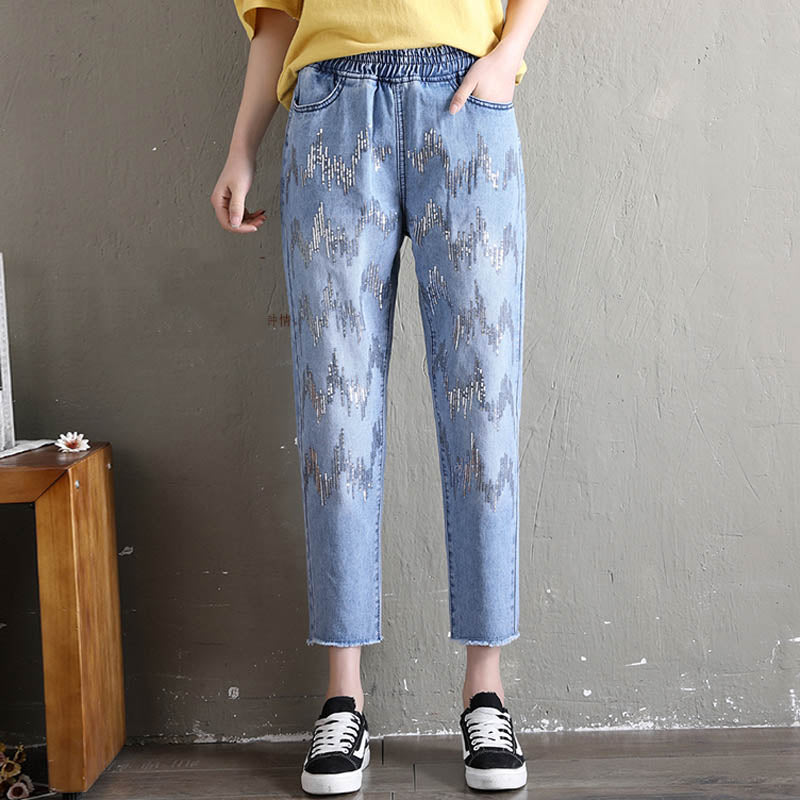 Denim Jeans For Women  Harajuku Sweet Jeans Fashion Embroidery Harem Pants S-XXL Female #1311