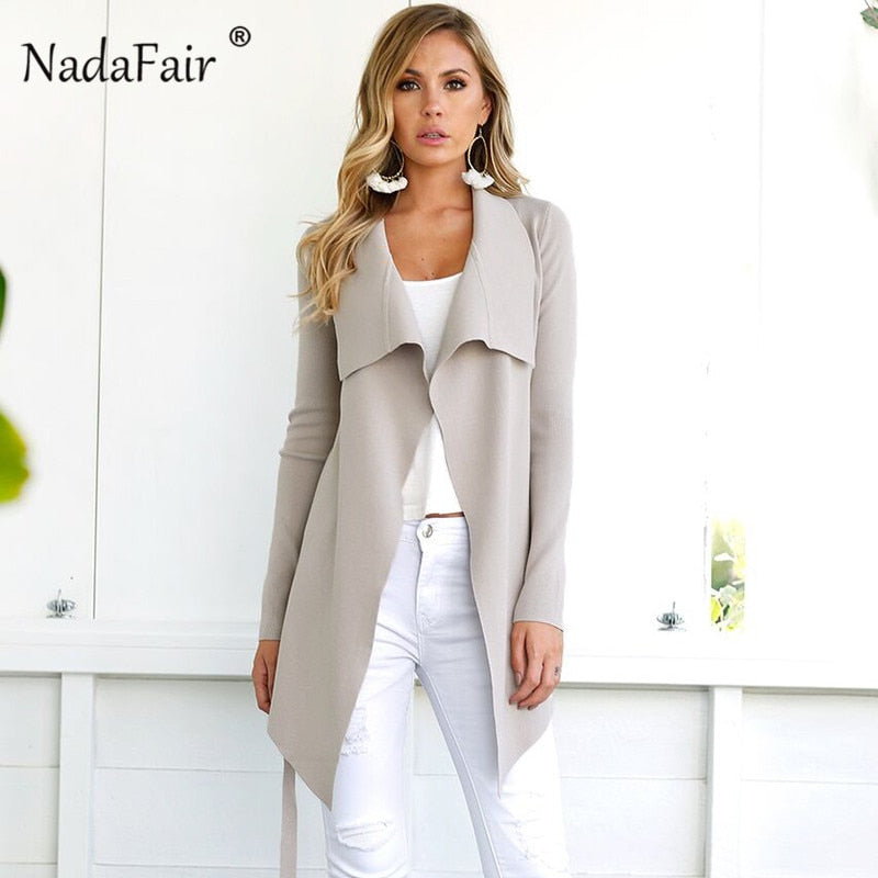 Nadafair woman coats winter 2018 fashion woolen long coat female solid belt slim elegant blend trench coat outwear open stitch