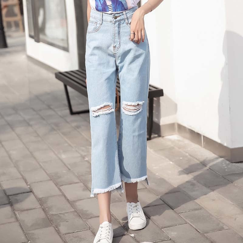 New Denim Cotton Jeans For Women Harajuku Vintage Loose Jeans Ankle Length Wide Leg Jeans Female #812
