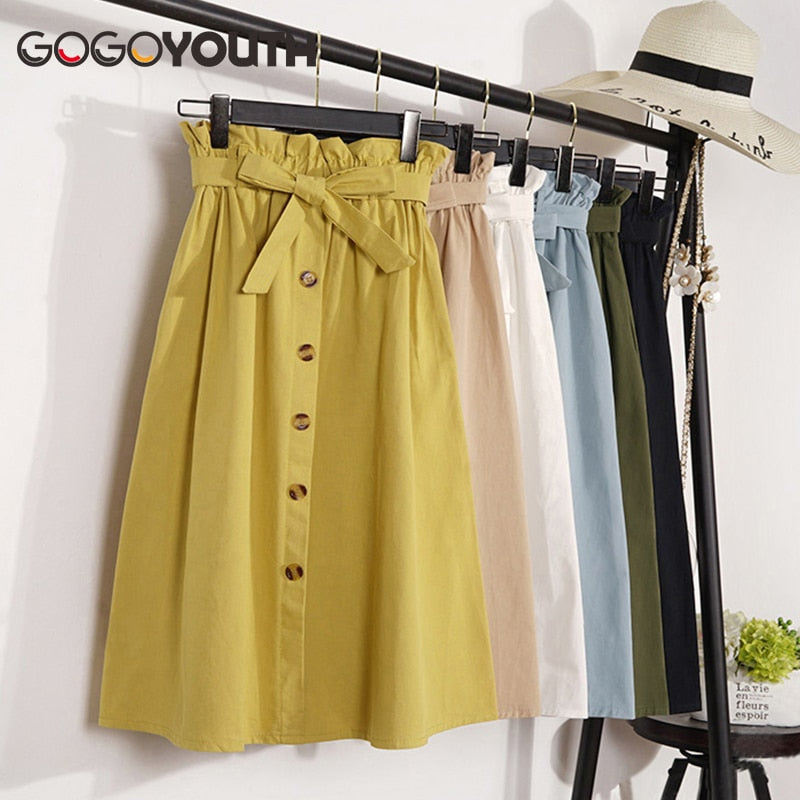 Gogoyouth Spring Summer Skirts Womens 2019 Midi Knee Length Korean Elegant Button High Waist Skirt Female Pleated School Skirt