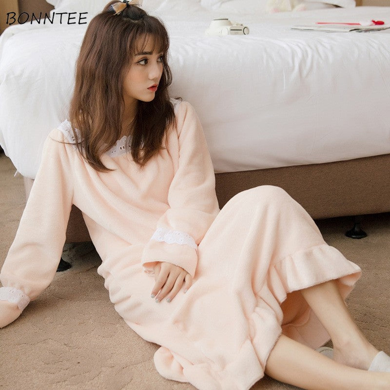 Nightgowns Women Winter Warm Flannel Solid Nightdress Lovely Kawaii Coral Fleece Womens Lace Sleepwear Trendy Leisure Students