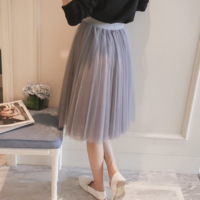 Surmiitro Pleated Tulle Skirt Women 2019 Summer New Midi Knee Length High Waist Skirt Female White Black Gray Sun School Skirt