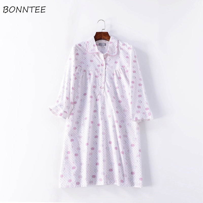 Nightgowns Women Loose Cotton Cartoon Polka Dot Sleepwear Warm Soft Half Sleeve Womens Nightdress Kawaii Large Size Leisure Cute