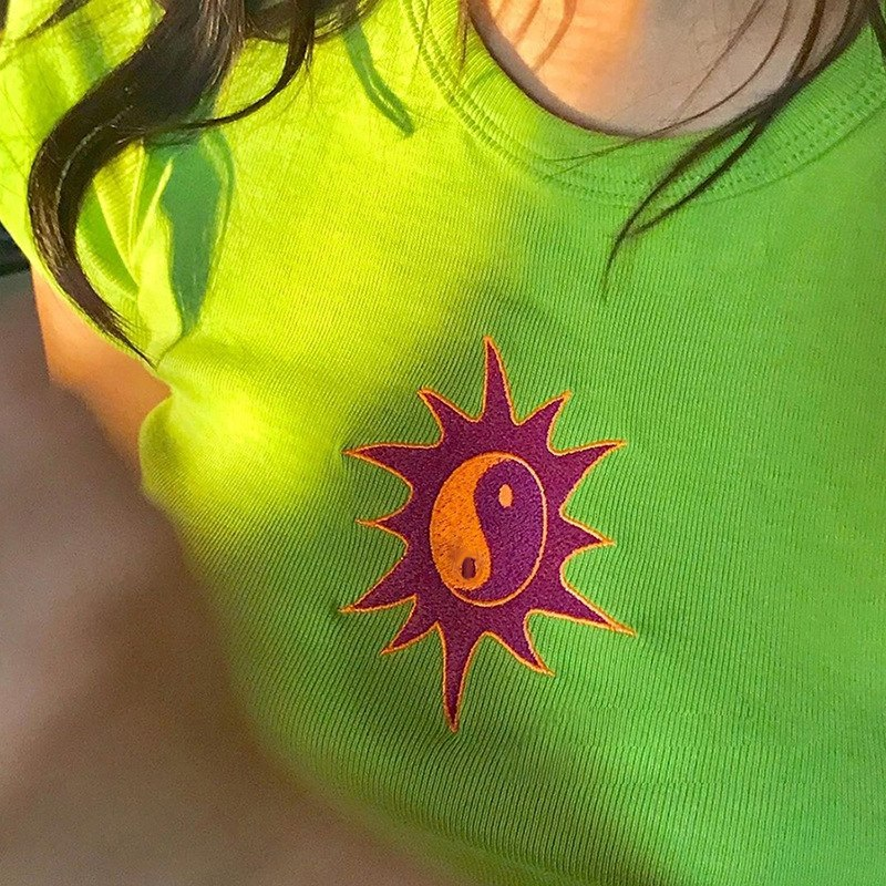 3ebb65d204 InstaHot Knitted Sun Print Short Sleeve T Shirts Women 2019 Stretchy Green  Blue Crop Tops Lady Streetwear Fashion Style Tees Hot