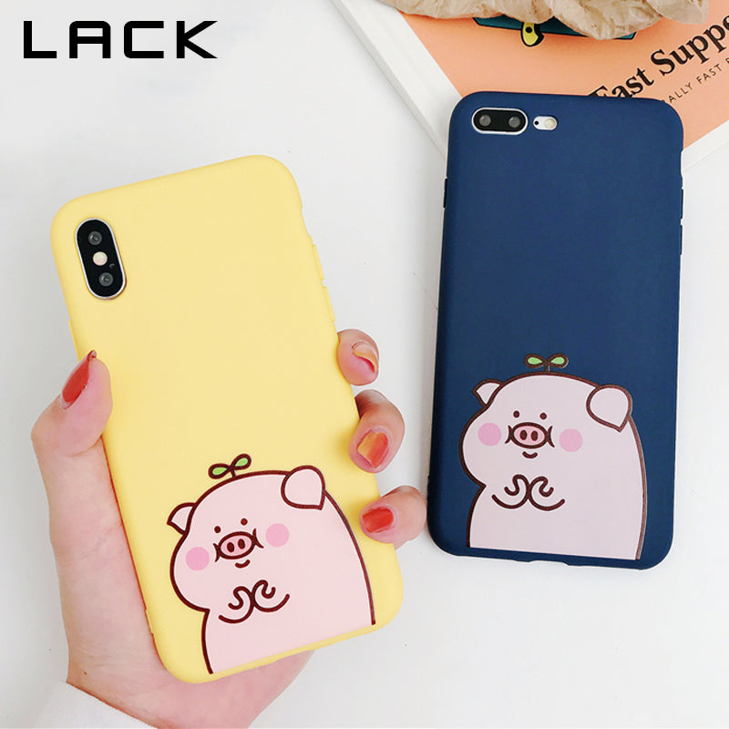 LACK Funny Cartoon Pig Phone Case For iPhone XR Case For iphone XS Max X 6 6S 7 8 Plus Back Cover Funny Couples Cases Soft Capa