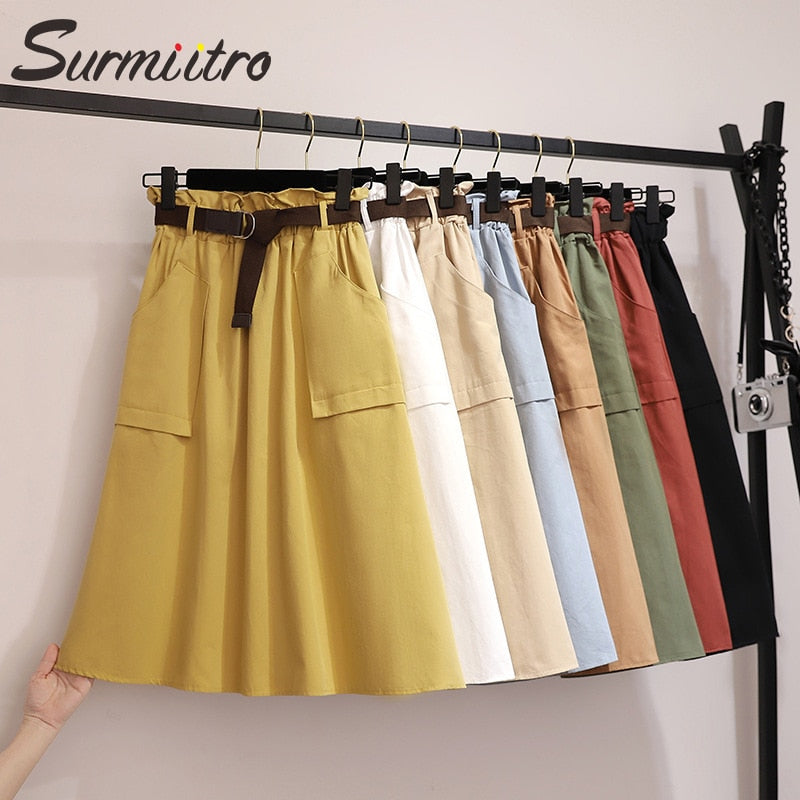 Surmiitro Midi Knee Length Summer Skirt Women With Belt 2019 Spring Casual Cotton Solid High Waist Sun School Skirt Female