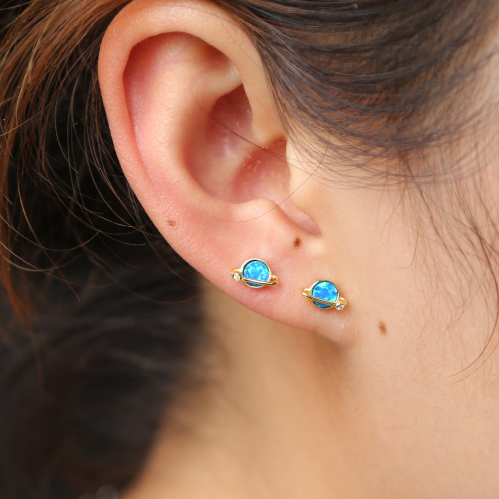 2019 Top fashion fine 925 Sterling Silver tiny elegant blue Fire Opal Circle stud Earrings cute lovely girls women party Jewelry