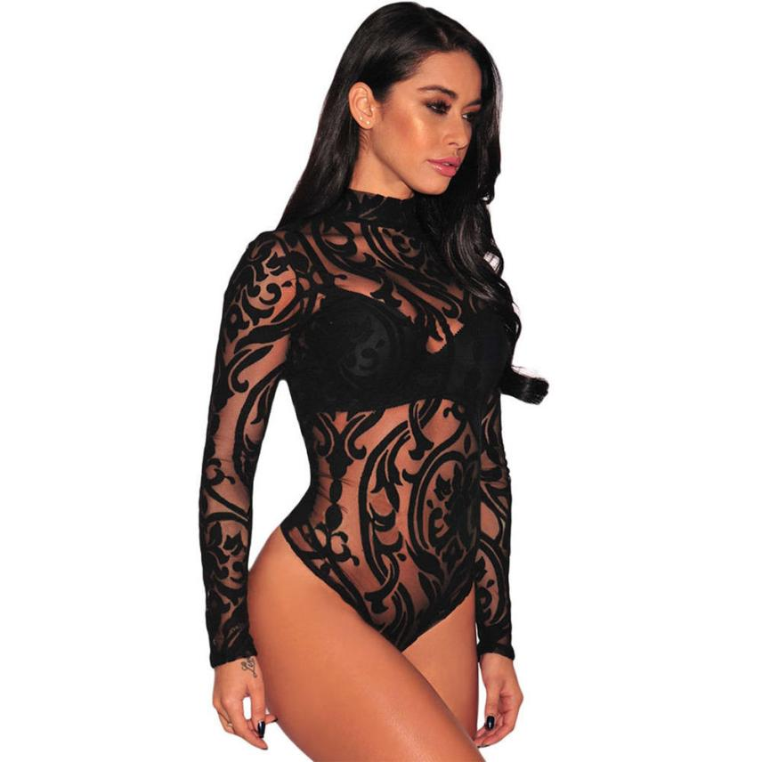 KANCOOLD Bodysuit new high quality sexy Female Gauze Ultrathin Mesh Long Sleeve Bodysuits fashion bodysuit sexy jan9