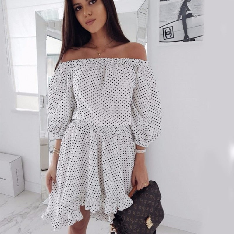 dac9a95e3eca DeRuiLaDy Women Sexy Off Shoulder Ruffles Dot Print Dress 2018 Autumn Puff  Sleeve Chiffon Black Dresses