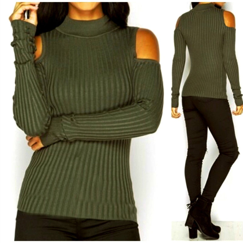 Plus Size Autumn Cold Shoulder Knitted Sweaters Turtleneck Pullovers 2018 Sexy Tops Winter Bodycon Ribbed Knitting Sweater GV973