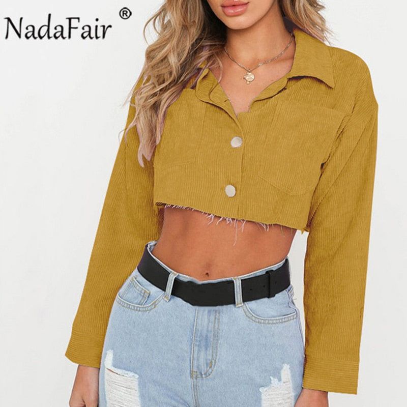 Nadafair spring autumn long sleeve crop tops women turn-down collar neck denim jacket women short jeans solid casual jacket coat