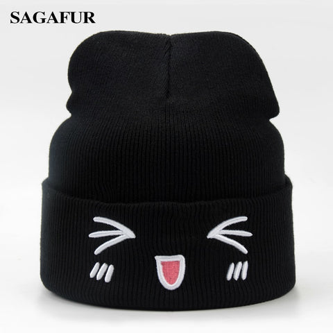 9e3d34f0404 Warm Soft Hat Female Embroidery Cute Emoji Skullies Casual Outdoor Ski Cap  Stretch Knitted Hat Women s Winter Beanies For Girl